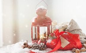 Картинка зима, снег, подарок, лампа, Новый Год, декор, пряности, Valeria Aksakova