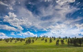 Картинка небо, трава, облака, фото, холмы