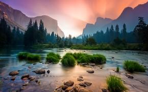 Картинка трава, вода, деревья, горы, парк, река, камни, рассвет, USA, США, river, mountains, sunrise, Yosemite National …