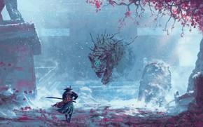 Картинка природа, существо, самурай