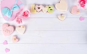 Картинка коробка, подарок, сердце, розы, love, heart, pink, romantic, roses, cookies, gift box