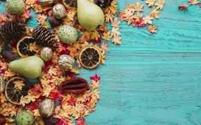 Картинка осень, листья, фон, дерево, апельсины, colorful, фрукты, орехи, шишки, груши, wood, background, autumn, leaves, осенние, …