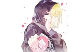 Картинка аниме, арт, парень, сердечко, День святого Валентина, Yuri on Ice, Юрий Плиседский