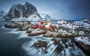 Картинка огни, дома, Норвегия, фьорд, Лофотенские острова