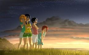 Картинка море, трава, закат, девочки, луг, Лавочка Тамако, Tamako Market