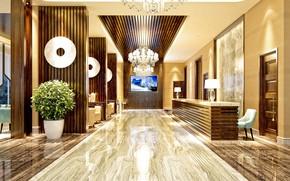 Обои цветы, дизайн, мебель, интерьер, картина, люстра, отель, холл, декор