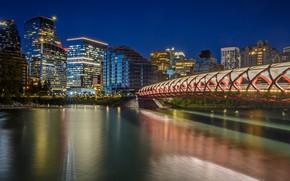 Картинка ночь, мост, город, огни, река, здания, Канада, Альберта, архитектура, Калгари