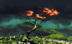 Картинка Дерево, Горы, Рисунок, Пейзаж, Art, Illustration, Roman Avseenko, by Roman Avseenko, Another Tree