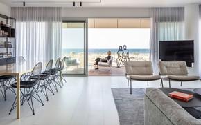Картинка интерьер, терраса, гостиная, столовая, by Axelrod Architects, SDV View Apartment Archello