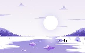 Картинка Солнце, Зима, Минимализм, Река, Снег, Лед, Пингвины, Пейзаж, Лёд, Пингвин, Иглу