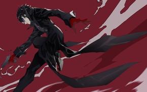 Картинка улыбка, пистолет, прыжок, игра, аниме, маска, арт, парень, персонаж, Persona 5, Персона 5