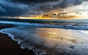 Картинка море, волны, закат, берег