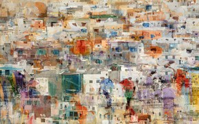 Картинка город, краски, дома, наложения