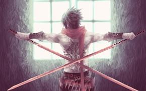 Картинка парень, мечи, катаны, кунаи, татуировк