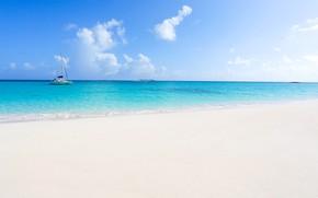 Картинка песок, море, яхта, Багамы