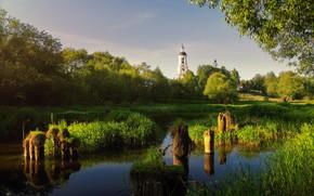 Картинка лето, природа, река, церковь, Богорянов Алексей