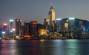 Картинка вода, ночь, город, Гонконг, Китай