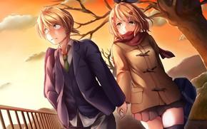 Картинка романтика, аниме, арт, пара, vocaloid, kagamine rin, kagamine len, смущение