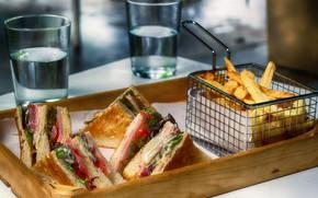 Картинка вода, стакан, сыр, хлеб, бутерброд, сэндвич, картошка, картофель, картошка фри, ветччина