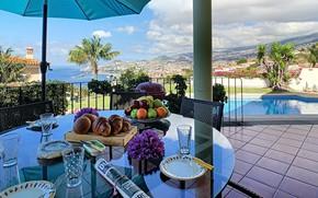 Картинка море, город, вилла, бассейн, Португалия, терраса, Funchal, villa Vista Sol