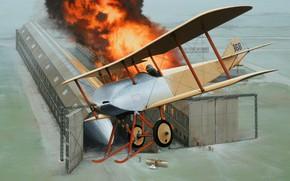 Картинка art, airplane, biplane, ww1, aviaiton