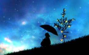 Картинка девушка, ночь, дождь, лимон, зонт, силуэт
