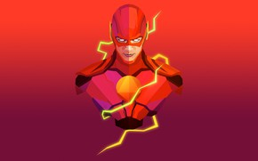 Картинка красный, фон, фантастика, маска, арт, искры, костюм, комикс, Флэш, The Flash