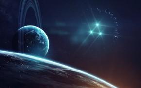 Картинка Звезды, Планета, Космос, Туманность, Планеты, Surface, Треугольник, Planets, Кольцо, Арт, Stars, Space, Блик, Art, Кольца, …