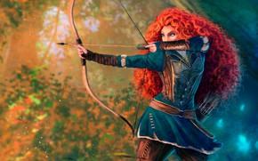 Обои лес, девушка, поза, рисунок, мультфильм, лук, лучница, арт, стрела, рыжая, стрелы, принцесса, колчан, боке, princess, ...