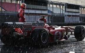 Картинка Спорт, Машина, Формула 1, Болид, Шумахер, Michael Schumacher, Михаэль Шумахер, Рендеринг, Schumacher, Ливень, Спорткар, Vehicles, …