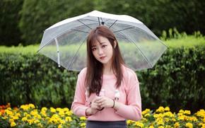Картинка взгляд, зонтик, азиатка