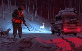 Картинка зима, машина, снег, охотник, единороги