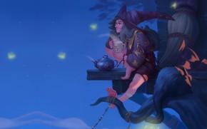 Картинка ночь, чаепитие, ведбма, Ekaterina Shapovalova, арт фэнтези, Illustration for the Witch Artbook