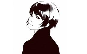 Картинка стрижка, графика, черно-белая, портрет девушки, вполоборота, Илья Кувшинов