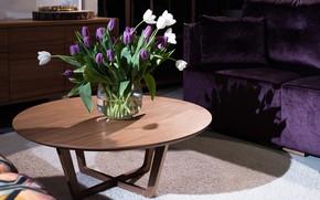 Картинка цветы, тюльпаны, ваза, столик