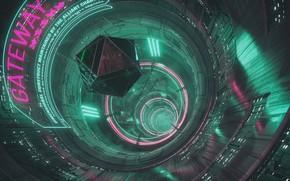 Картинка Девушка, Музыка, Фон, Тоннель, Neon, Cyber, Cyberpunk, Synth, Gateway, Retrowave, Synthwave, New Retro Wave, Futuresynth, …