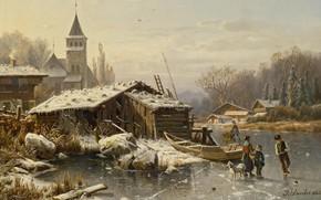 Картинка 1865, немецкий художник-пейзажист, Winter day, Зимний день, German landscape painter, oil on canvas, Wintertag, Johannes …