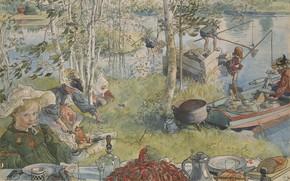 Обои Carl Olof Larsson, Карл Ларссон, Ловля раков, Carl Larsson, Crayfishing, шведский художник, Карл Улоф Ларссон, ...