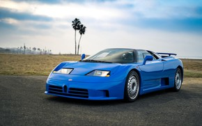 Картинка Blue, Beach, Bugatti EB 110