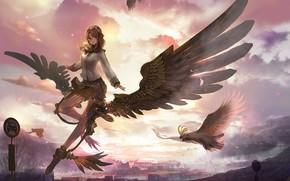 Картинка девушка, закат, птица, ангел, аниме, арт