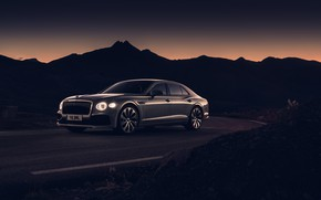 Картинка закат, фары, Bentley, вечер, сумерки, Flying Spur, 2020, Blackline