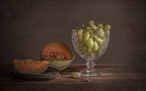 Картинка стекло, виноград, вилка, натюрморт, дыня, вазочка