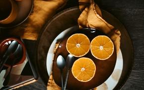 Картинка темный фон, стол, доски, полотенце, апельсины, тарелки, посуда, трио, ложки, сервировка