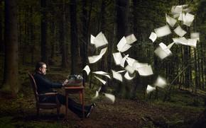 Картинка лес, человек, листы, творчество, пишущая машинка