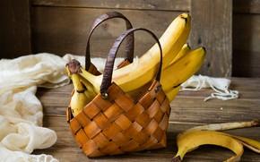 Картинка доски, бананы, ткань, сумочка, фрукты, корзинка, кожура