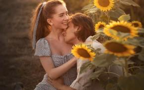Картинка лето, девушка, счастье, подсолнухи, природа, улыбка, фото, пара, мужчина, влюбленные, Елена Шумилова