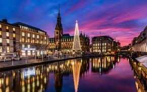 Картинка небо, закат, улица, здания, елка, Германия, канал, Гамбург