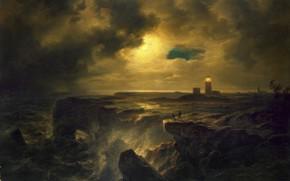 Обои пейзаж, картина, Гельголанд в Лунном Свете, Christian Morgenstern, Христиан Эрнст Бернгард Моргенштерн