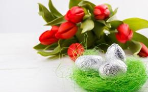 Картинка цветы, праздник, яйца, весна, пасха, гнездо, тюльпаны, бутоны