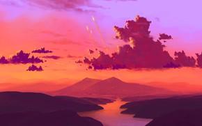 Картинка fantasy, river, sky, landscape, nature, sunset, science fiction, clouds, mountain, sci-fi, artist, digital art, artwork, …